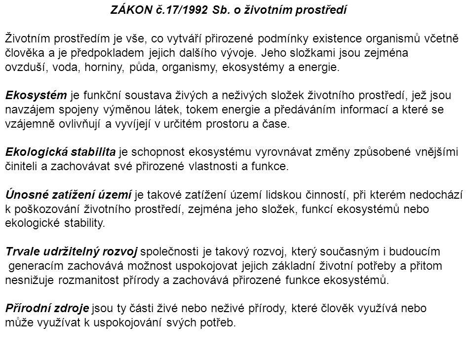 ZÁKON č.17/1992 Sb. o životním prostředí Životním prostředím je vše, co vytváří přirozené podmínky existence organismů včetně člověka a je předpoklade