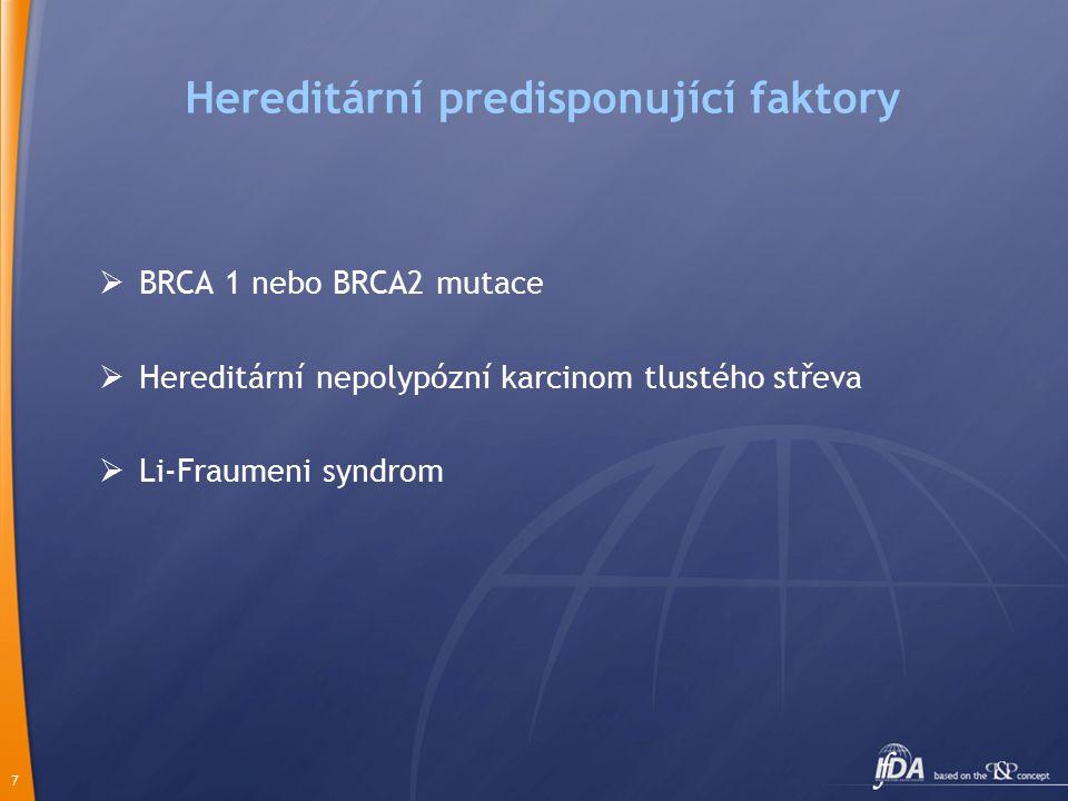 7 Hereditární predisponující faktory  BRCA 1 nebo BRCA2 mutace  Hereditární nepolypózní karcinom tlustého střeva  Li-Fraumeni syndrom