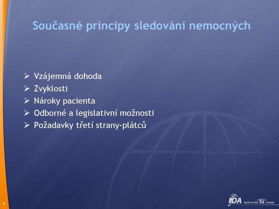 8 Současné principy sledování nemocných  Vzájemná dohoda  Zvyklosti  Nároky pacienta  Odborné a legislativní možnosti  Požadavky třetí strany-plátců