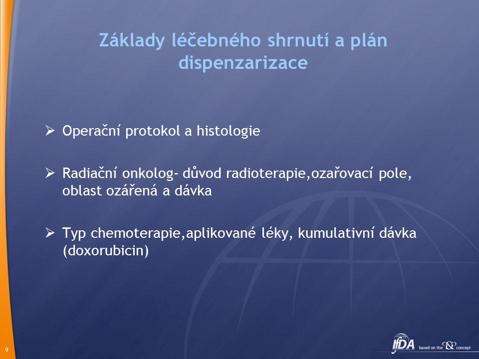 9 Základy léčebného shrnutí a plán dispenzarizace  Operační protokol a histologie  Radiační onkolog- důvod radioterapie,ozařovací pole, oblast ozářená a dávka  Typ chemoterapie,aplikované léky, kumulativní dávka (doxorubicin)