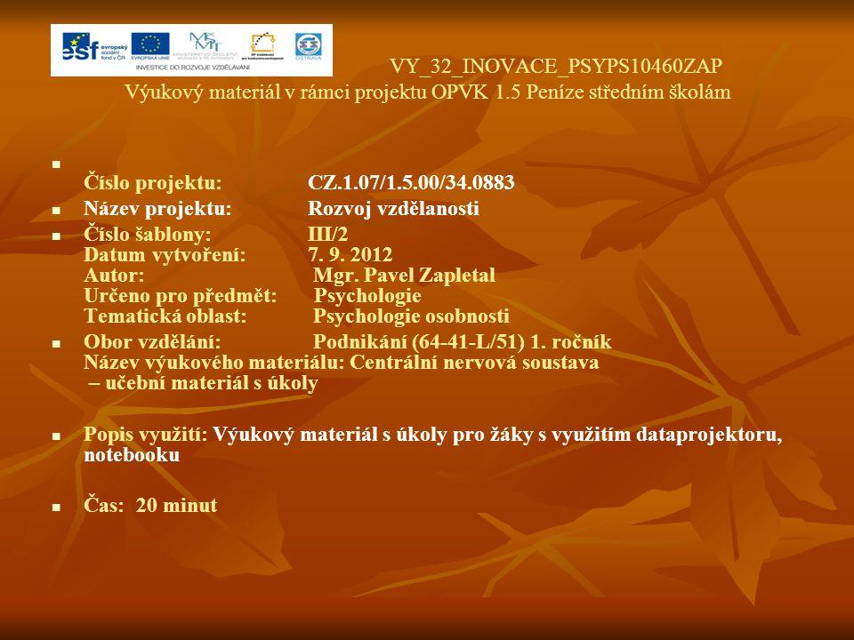 VY_32_INOVACE_PSYPS10460ZAP Výukový materiál v rámci projektu OPVK 1.5 Peníze středním školám Číslo projektu:CZ.1.07/1.5.00/34.0883 Název projektu:Roz