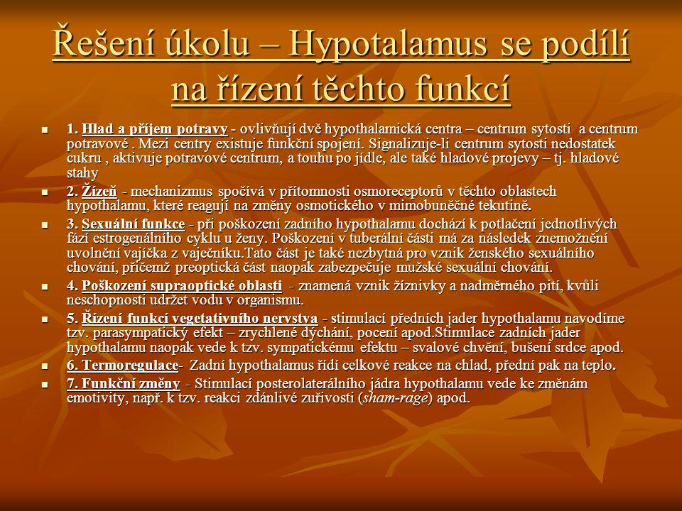 Řešení úkolu – Hypotalamus se podílí na řízení těchto funkcí 1.
