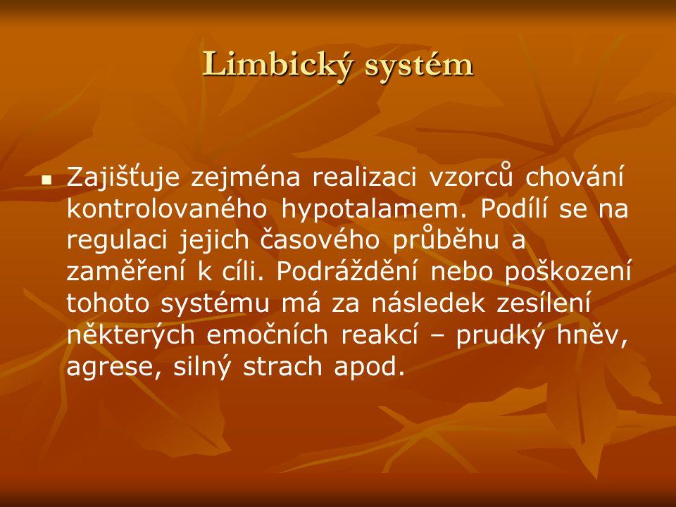 Limbický systém Zajišťuje zejména realizaci vzorců chování kontrolovaného hypotalamem. Podílí se na regulaci jejich časového průběhu a zaměření k cíli