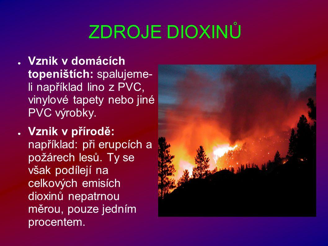 ZDROJE DIOXINŮ ● Vznik v domácích topeništích: spalujeme- li například lino z PVC, vinylové tapety nebo jiné PVC výrobky. ● Vznik v přírodě: například
