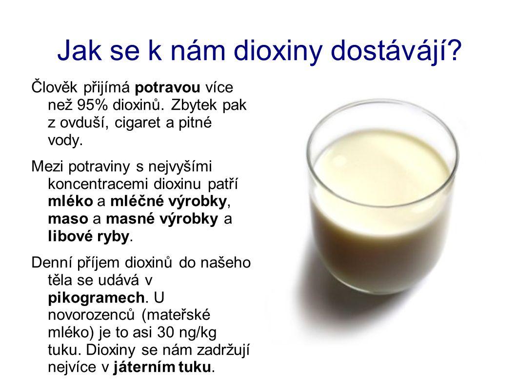 Jak se k nám dioxiny dostávájí? Člověk přijímá potravou více než 95% dioxinů. Zbytek pak z ovduší, cigaret a pitné vody. Mezi potraviny s nejvyšími ko