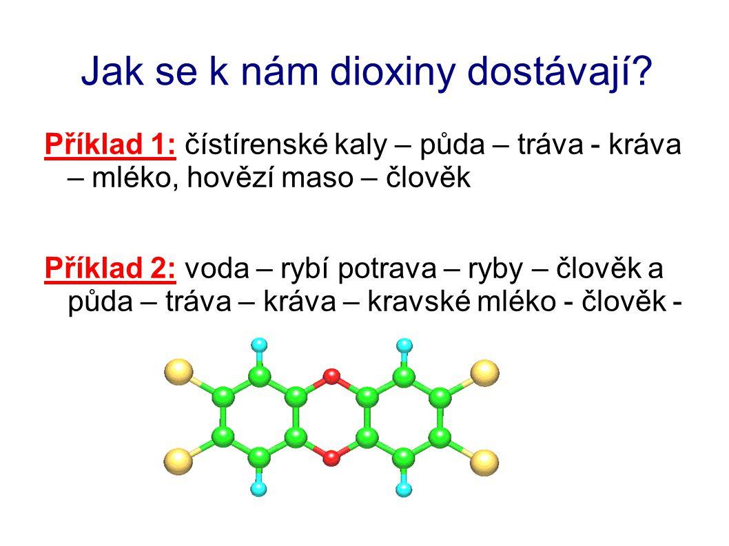 Jak se k nám dioxiny dostávají? Příklad 1: čístírenské kaly – půda – tráva - kráva – mléko, hovězí maso – člověk Příklad 2: voda – rybí potrava – ryby