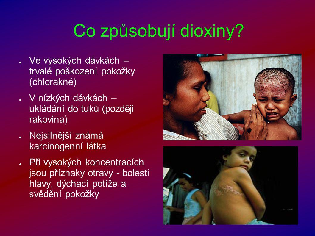 Co způsobují dioxiny? ● Ve vysokých dávkách – trvalé poškození pokožky (chlorakné) ● V nízkých dávkách – ukládání do tuků (později rakovina) ● Nejsiln