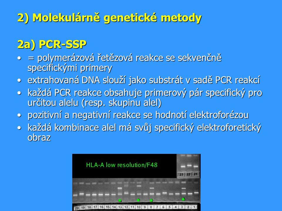 2) Molekulárně genetické metody 2a) PCR-SSP = polymerázová řetězová reakce se sekvenčně specifickými primery= polymerázová řetězová reakce se sekvenčn