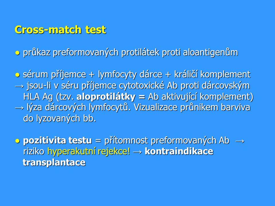 Cross-match test ● průkaz preformovaných protilátek proti aloantigenům ● sérum příjemce + lymfocyty dárce + králičí komplement → jsou-li v séru příjemce cytotoxické Ab proti dárcovským HLA Ag (tzv.