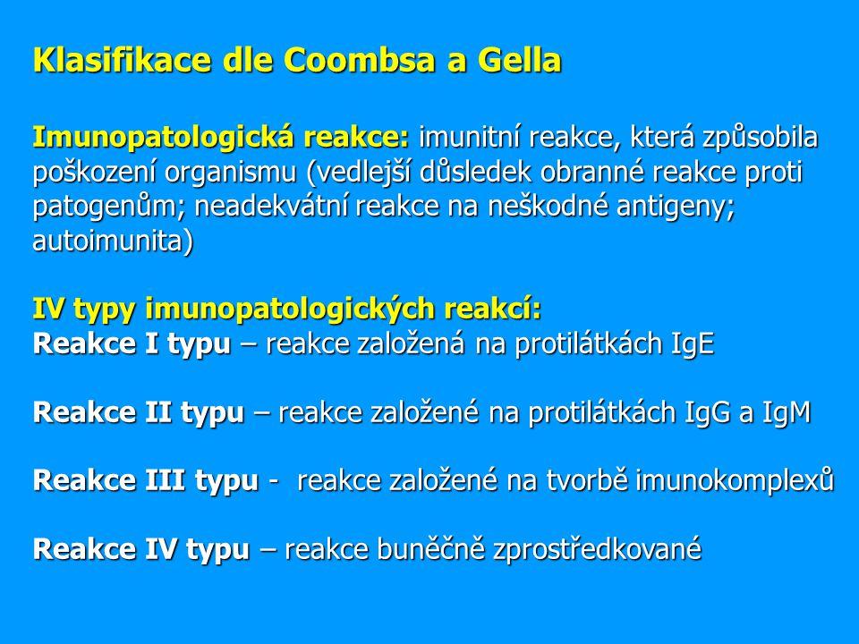 Klasifikace dle Coombsa a Gella Imunopatologická reakce: imunitní reakce, která způsobila poškození organismu (vedlejší důsledek obranné reakce proti patogenům; neadekvátní reakce na neškodné antigeny; autoimunita) IV typy imunopatologických reakcí: Reakce I typu – reakce založená na protilátkách IgE Reakce II typu – reakce založené na protilátkách IgG a IgM Reakce III typu - reakce založené na tvorbě imunokomplexů Reakce IV typu – reakce buněčně zprostředkované