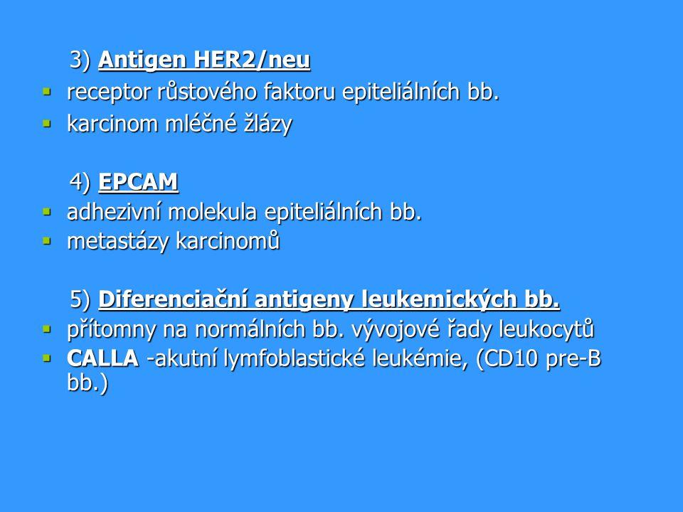 3) Antigen HER2/neu 3) Antigen HER2/neu  receptor růstového faktoru epiteliálních bb.  karcinom mléčné žlázy 4) EPCAM 4) EPCAM  adhezivní molekula