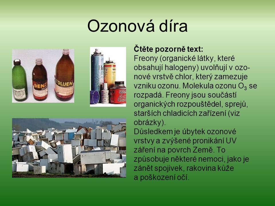 Ozonová díra Čtěte pozorně text: Freony (organické látky, které obsahují halogeny) uvolňují v ozo- nové vrstvě chlor, který zamezuje vzniku ozonu.