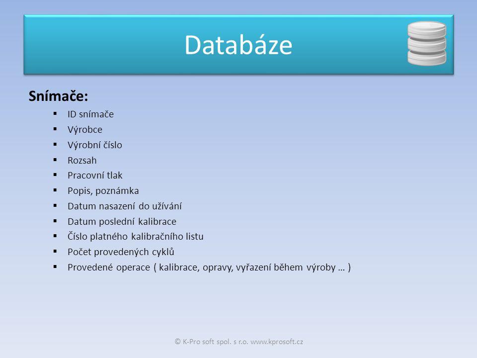 Snímače:  ID snímače  Výrobce  Výrobní číslo  Rozsah  Pracovní tlak  Popis, poznámka  Datum nasazení do užívání  Datum poslední kalibrace  Čí