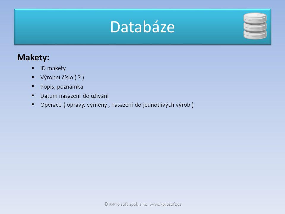 Makety:  ID makety  Výrobní číslo ( ? )  Popis, poznámka  Datum nasazení do užívání  Operace ( opravy, výměny, nasazení do jednotlivých výrob ) D