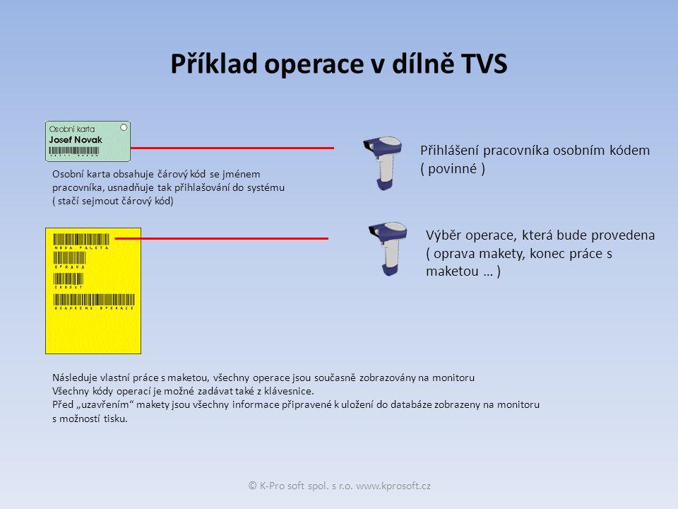 Příklad operace v dílně TVS Přihlášení pracovníka osobním kódem ( povinné ) Výběr operace, která bude provedena ( oprava makety, konec práce s maketou … ) Osobní karta obsahuje čárový kód se jménem pracovníka, usnadňuje tak přihlašování do systému ( stačí sejmout čárový kód) Následuje vlastní práce s maketou, všechny operace jsou současně zobrazovány na monitoru Všechny kódy operací je možné zadávat také z klávesnice.