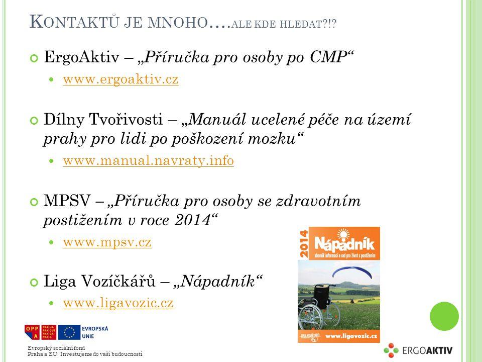 """Evropský sociální fond Praha a EU: Investujeme do vaší budoucnosti K ONTAKTŮ JE MNOHO …. ALE KDE HLEDAT ?!? ErgoAktiv – """" Příručka pro osoby po CMP"""" w"""
