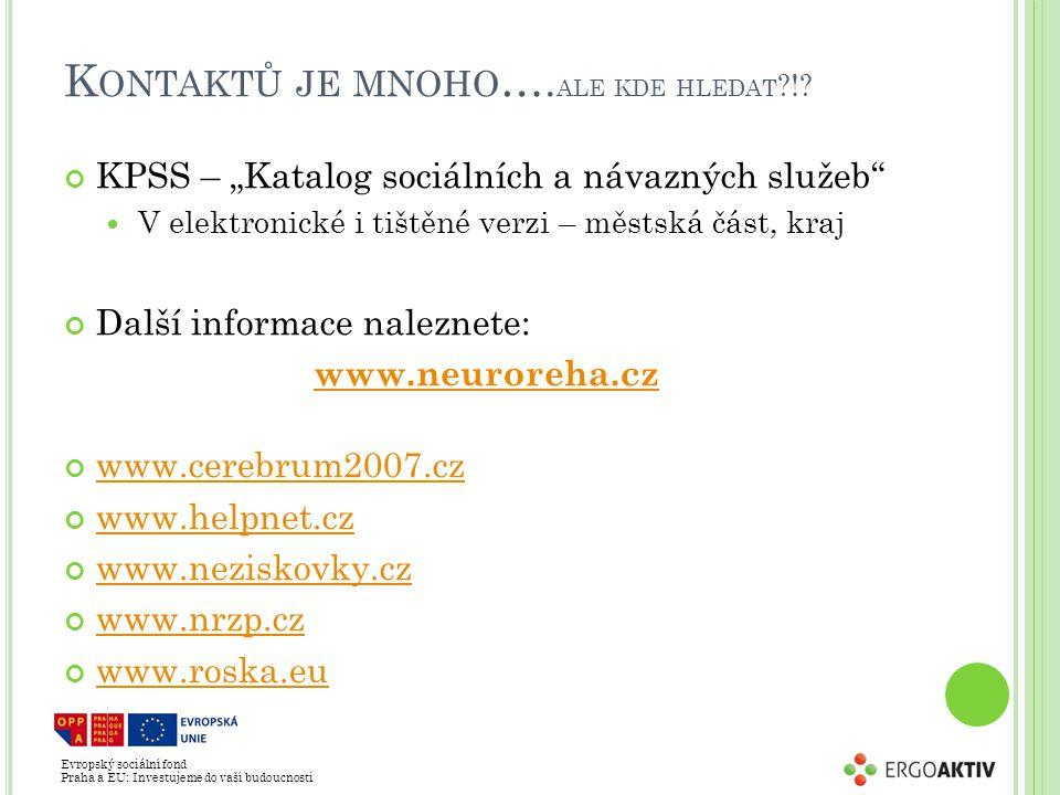 """Evropský sociální fond Praha a EU: Investujeme do vaší budoucnosti K ONTAKTŮ JE MNOHO …. ALE KDE HLEDAT ?!? KPSS – """"Katalog sociálních a návazných slu"""