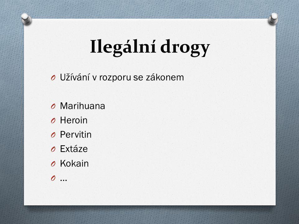 O Užívání v rozporu se zákonem O Marihuana O Heroin O Pervitin O Extáze O Kokain O …