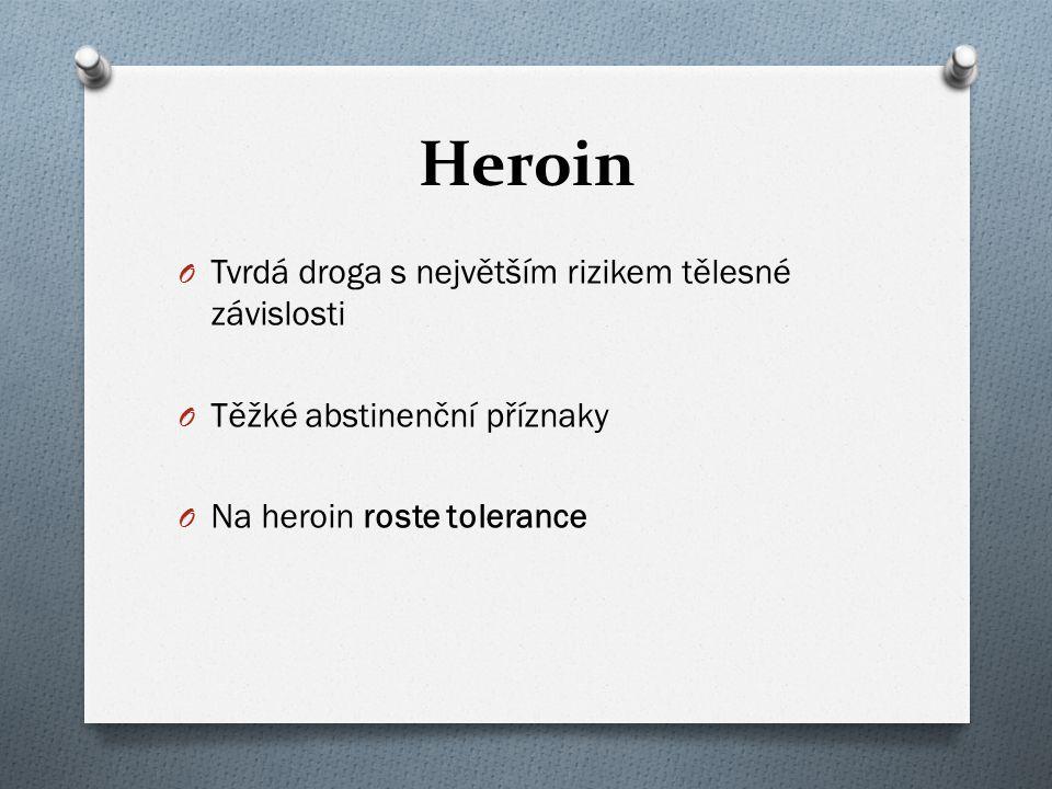Heroin O Tvrdá droga s největším rizikem tělesné závislosti O Těžké abstinenční příznaky O Na heroin roste tolerance