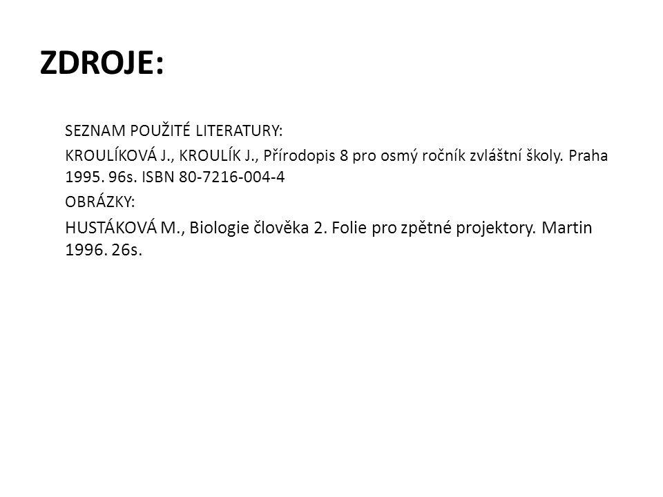 ZDROJE: SEZNAM POUŽITÉ LITERATURY: KROULÍKOVÁ J., KROULÍK J., Přírodopis 8 pro osmý ročník zvláštní školy. Praha 1995. 96s. ISBN 80-7216-004-4 OBRÁZKY
