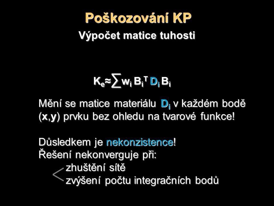 Poškozování KP Výpočet matice tuhosti K e ≈ ∑ w i B i T D i B i Mění se matice materiálu D i v každém bodě (x,y) prvku bez ohledu na tvarové funkce.