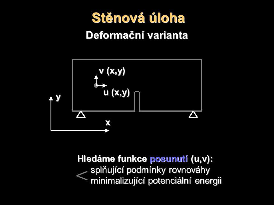 Stěnová úloha Deformační varianta u (x,y) Hledáme funkce posunutí (u,v): splňující podmínky rovnováhy minimalizující potenciální energii y x v (x,y)