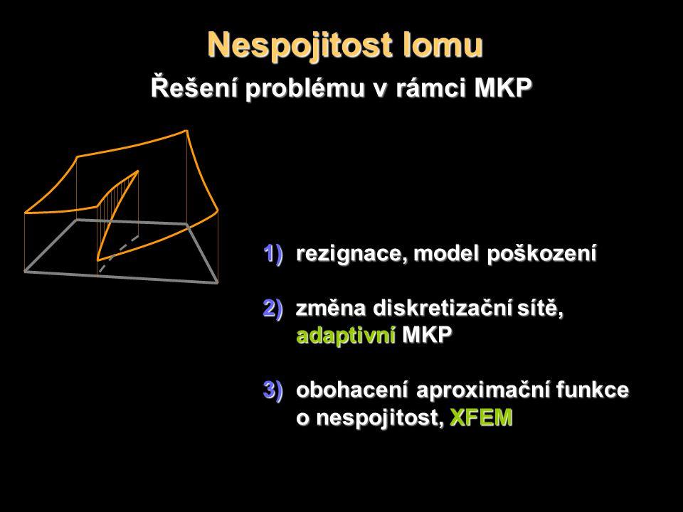 Nespojitost lomu Řešení problému v rámci MKP 1)rezignace, model poškození 2)změna diskretizační sítě, adaptivní MKP 3)obohacení aproximační funkce o nespojitost, XFEM