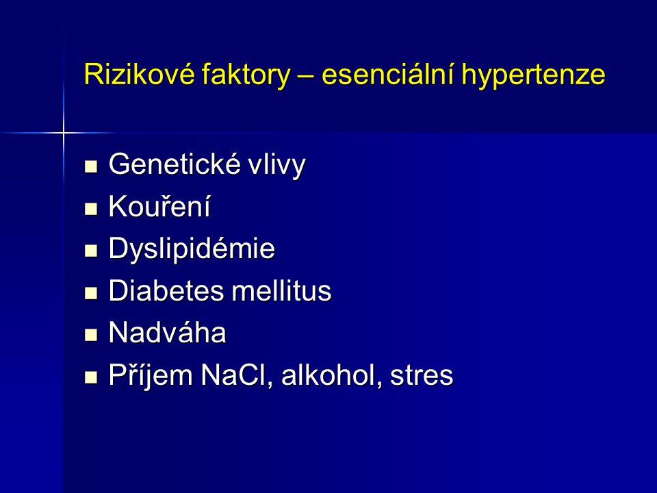 Rizikové faktory – esenciální hypertenze Genetické vlivy Genetické vlivy Kouření Kouření Dyslipidémie Dyslipidémie Diabetes mellitus Diabetes mellitus