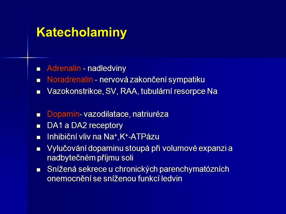 Katecholaminy Adrenalin - nadledviny Adrenalin - nadledviny Noradrenalin - nervová zakončení sympatiku Noradrenalin - nervová zakončení sympatiku Vazo