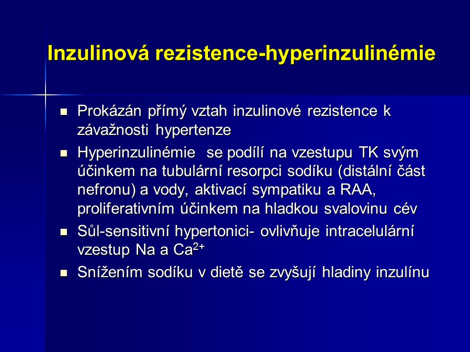 Hypertenze a diabetes mellitus IDDM 1.