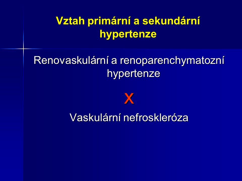 Vztah primární a sekundární hypertenze Renovaskulární a renoparenchymatozní hypertenze x Vaskulární nefroskleróza