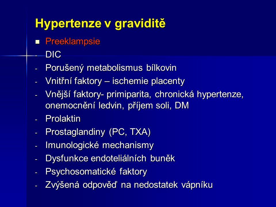 Hypertenze v graviditě Preeklampsie Preeklampsie - DIC - Porušený metabolismus bílkovin - Vnitřní faktory – ischemie placenty - Vnější faktory- primip
