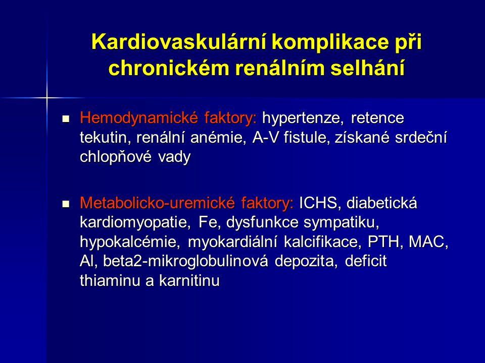 Kardiovaskulární komplikace při chronickém renálním selhání Hemodynamické faktory: hypertenze, retence tekutin, renální anémie, A-V fistule, získané s