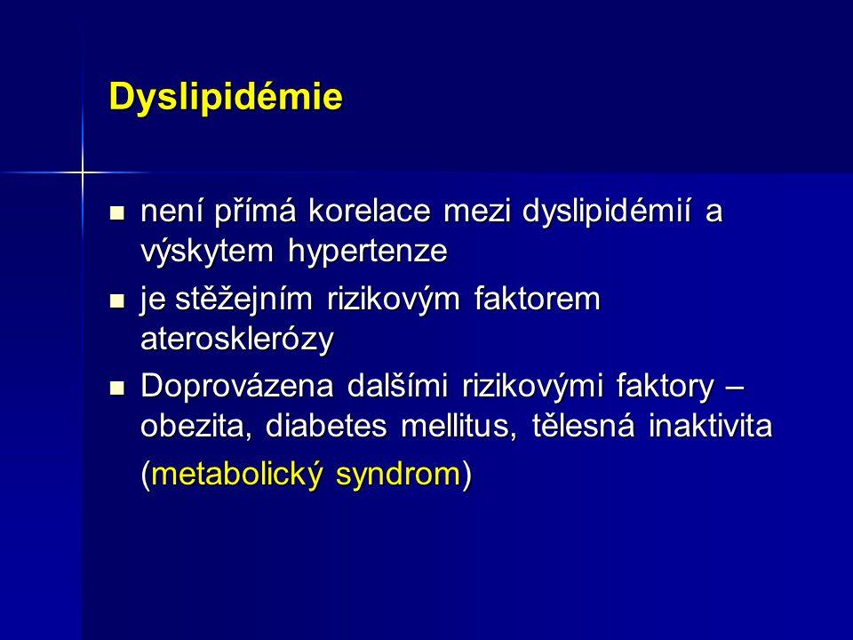 Dyslipidémie není přímá korelace mezi dyslipidémií a výskytem hypertenze není přímá korelace mezi dyslipidémií a výskytem hypertenze je stěžejním rizi