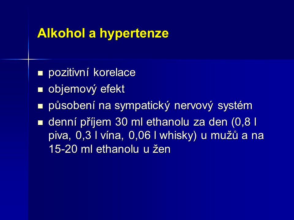 Alkohol a hypertenze pozitivní korelace pozitivní korelace objemový efekt objemový efekt působení na sympatický nervový systém působení na sympatický