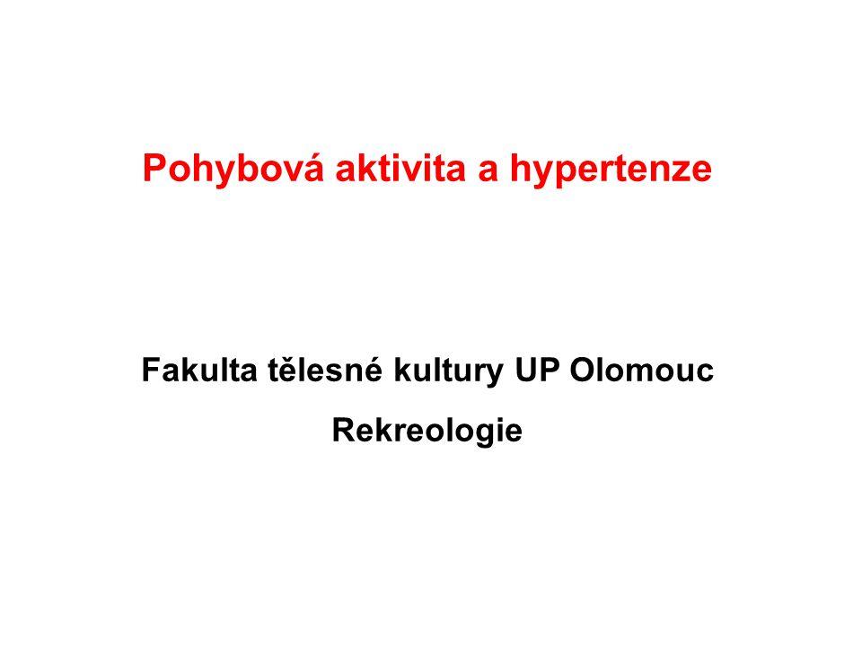 Pohybová aktivita a hypertenze Fakulta tělesné kultury UP Olomouc Rekreologie