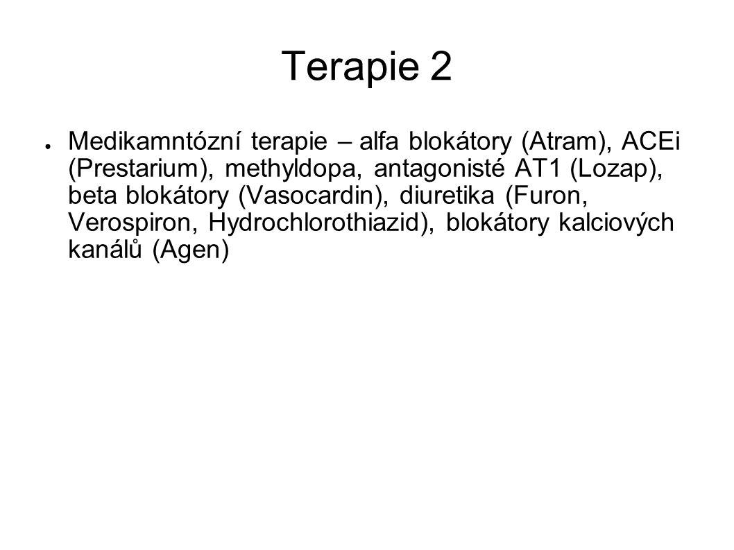 Terapie 2 ● Medikamntózní terapie – alfa blokátory (Atram), ACEi (Prestarium), methyldopa, antagonisté AT1 (Lozap), beta blokátory (Vasocardin), diure