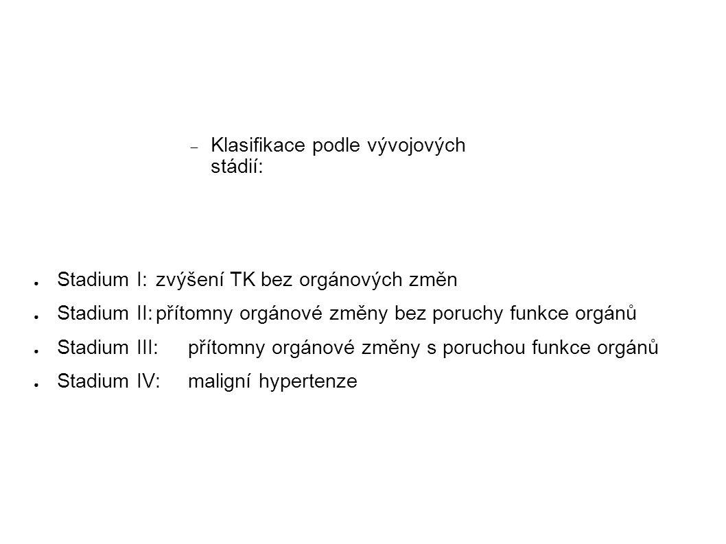 ● Stadium I:zvýšení TK bez orgánových změn ● Stadium II:přítomny orgánové změny bez poruchy funkce orgánů ● Stadium III:přítomny orgánové změny s poru