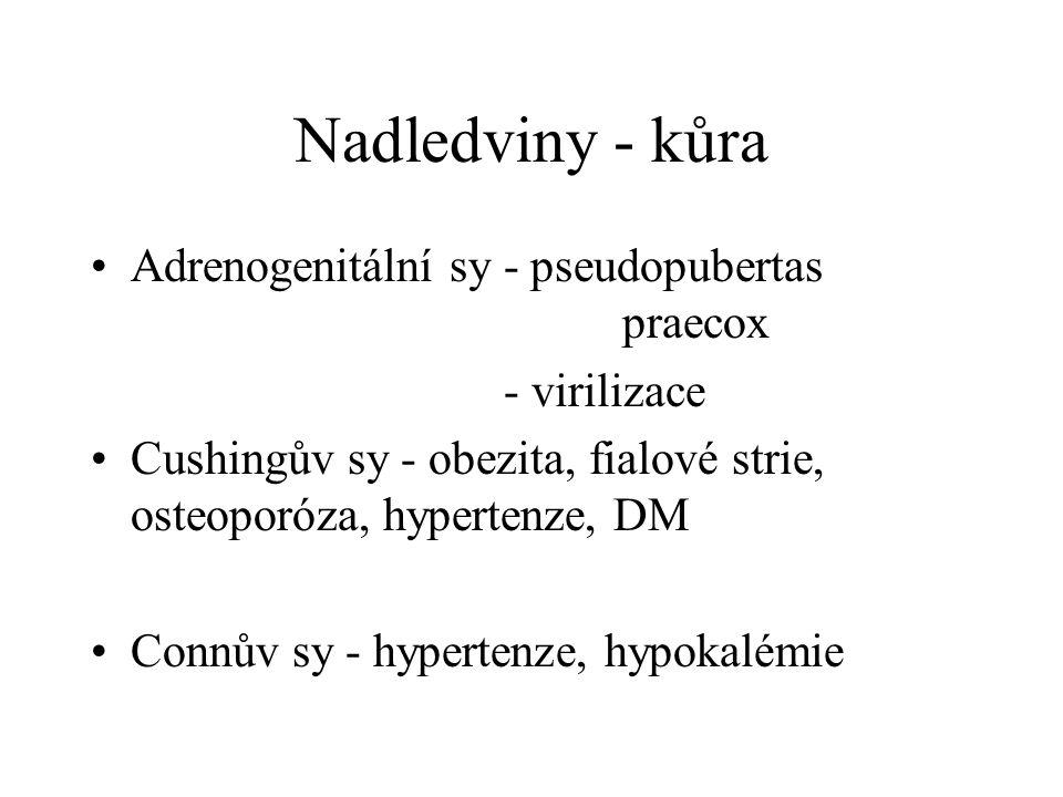 Nadledviny - kůra Adrenogenitální sy - pseudopubertas praecox - virilizace Cushingův sy - obezita, fialové strie, osteoporóza, hypertenze, DM Connův sy - hypertenze, hypokalémie