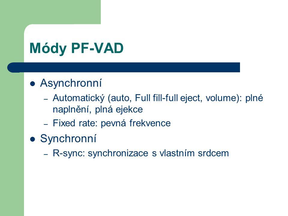 Módy PF-VAD Asynchronní – Automatický (auto, Full fill-full eject, volume): plné naplnění, plná ejekce – Fixed rate: pevná frekvence Synchronní – R-sync: synchronizace s vlastním srdcem