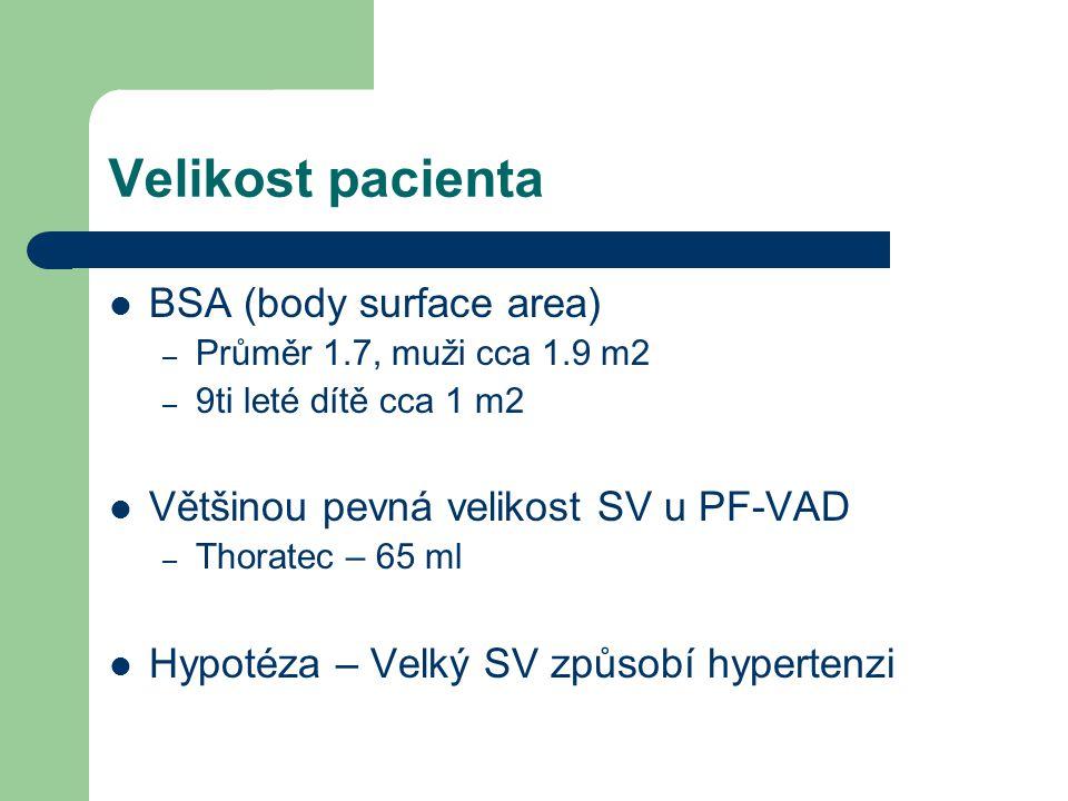 Velikost pacienta BSA (body surface area) – Průměr 1.7, muži cca 1.9 m2 – 9ti leté dítě cca 1 m2 Většinou pevná velikost SV u PF-VAD – Thoratec – 65 ml Hypotéza – Velký SV způsobí hypertenzi