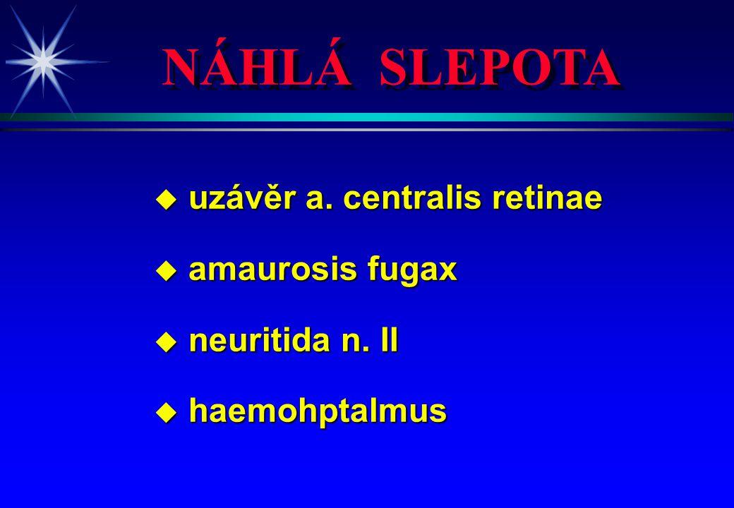 NÁHLÁ SLEPOTA u uzávěr a. centralis retinae u amaurosis fugax u neuritida n. II u haemohptalmus