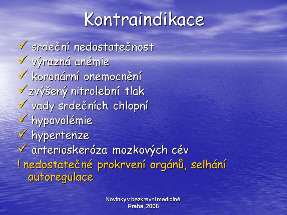 Novinky v bezkrevní medicíně, Praha, 2008 Kontraindikace srdeční nedostatečnost srdeční nedostatečnost výrazná anémie výrazná anémie koronární onemocn