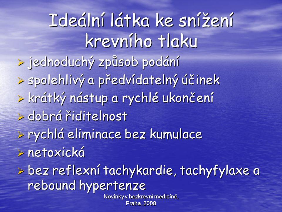 Novinky v bezkrevní medicíně, Praha, 2008 Ideální látka ke snížení krevního tlaku  jednoduchý způsob podání  spolehlivý a předvídatelný účinek  krá