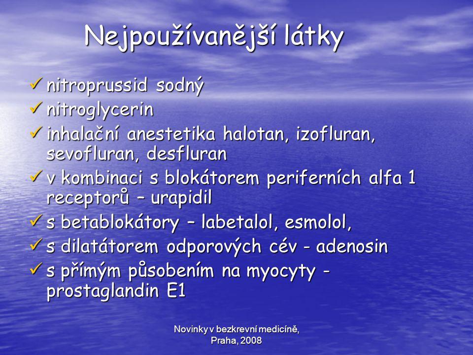 Novinky v bezkrevní medicíně, Praha, 2008 Nejpoužívanější látky Nejpoužívanější látky nitroprussid sodný nitroprussid sodný nitroglycerin nitroglyceri