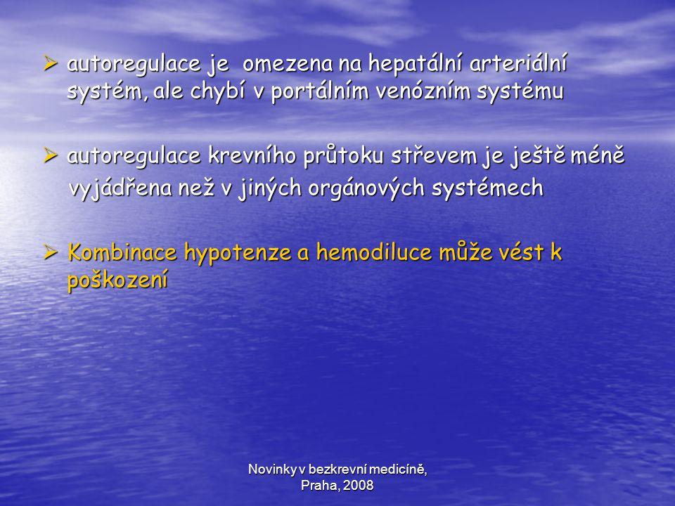 Novinky v bezkrevní medicíně, Praha, 2008  autoregulace je omezena na hepatální arteriální systém, ale chybí v portálním venózním systému  autoregul