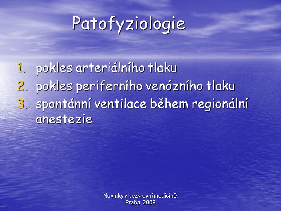 Novinky v bezkrevní medicíně, Praha, 2008 Patofyziologie Patofyziologie 1.pokles arteriálního tlaku 2.pokles periferního venózního tlaku 3.spontánní v
