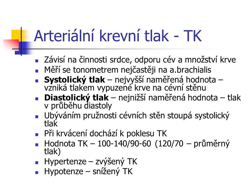 Arteriální krevní tlak - TK Závisí na činnosti srdce, odporu cév a množství krve Měří se tonometrem nejčastěji na a.brachialis Systolický tlak – nejvy