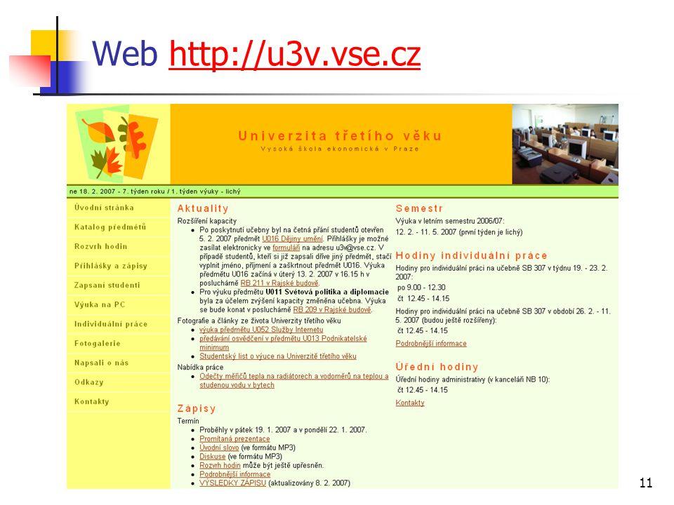 11 Web http://u3v.vse.czhttp://u3v.vse.cz