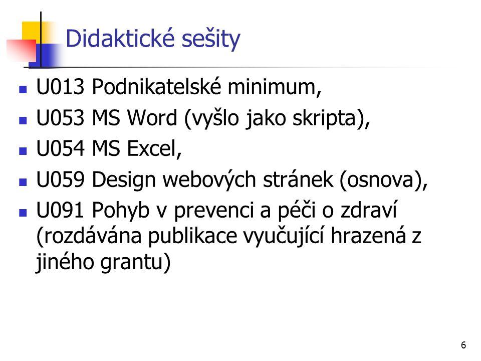 6 Didaktické sešity U013 Podnikatelské minimum, U053 MS Word (vyšlo jako skripta), U054 MS Excel, U059 Design webových stránek (osnova), U091 Pohyb v prevenci a péči o zdraví (rozdávána publikace vyučující hrazená z jiného grantu)